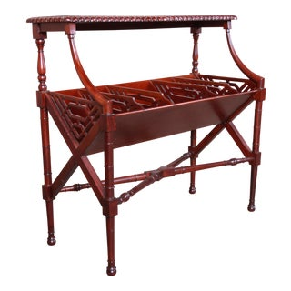 Chippendale Carved Mahogany Magazine Rack Occasional Table Attributed to Baker Furniture For Sale