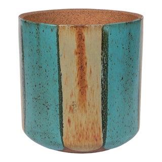 Malcom Leland / David Cressey Flame Glaze Planter for Architectural Pottery - Teal For Sale