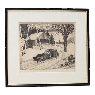 "William MacLean (American, 1897-1978) ""The Ox Team"" Original Etching C.1941 For Sale"
