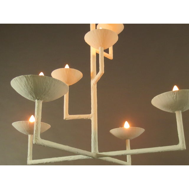 White 7 Cup Plaster Chandelier For Sale - Image 8 of 12