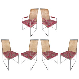 Milo Baughman Thayer Coggin High Back Chrome & Caned Dining Chairs - Set of 6 For Sale