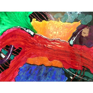 Contemporary Abstract Acrylic Painting Glass Like Epoxy Varnish For Sale