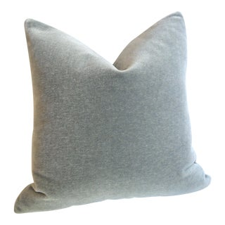 Storm Grey Angora Mohair Pillow Cover 18x18 For Sale