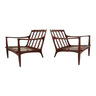Pair of Sculpted Danish Modern Lounge Chairs For Sale
