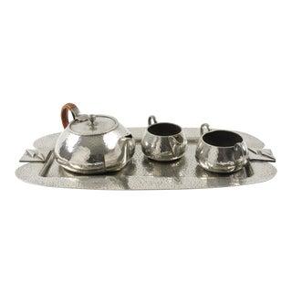 Fenton Bros Sheffield England Art Nouveau Pewter Tea Coffee Tray Set For Sale