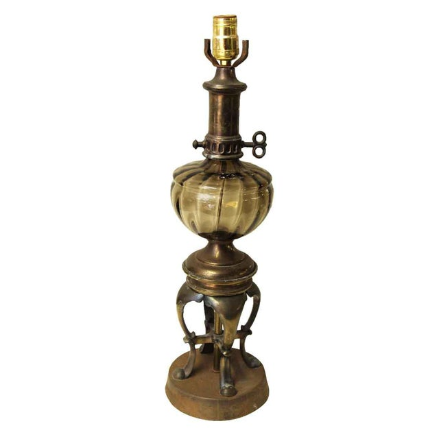 Brown Vintage Brown Glass Oil Lamp Style Electrified Table Lamp For Sale - Image 8 of 13