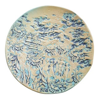 Vintage Chinoiserie Ceramic Plate For Sale