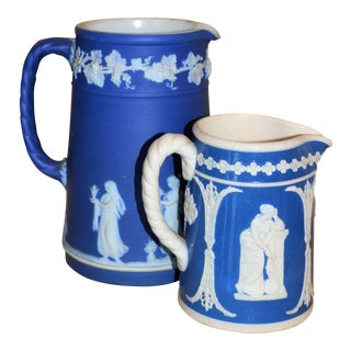 Vintage Cobalt Jasperware Pitchers - A Pair