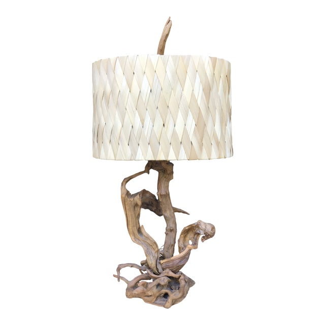 """50"""" Tall Monumental Driftwood Lamp Original Woven Shade For Sale"""