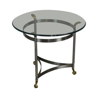 Directoire Style Brushed Steel & Brass Round Glass Top Side Table For Sale