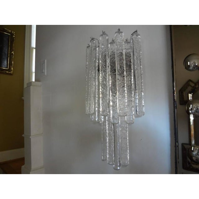 Vintage Mid-Century Italian Venini Style Murano Glass Icicle Sconces - A Pair For Sale In Houston - Image 6 of 7
