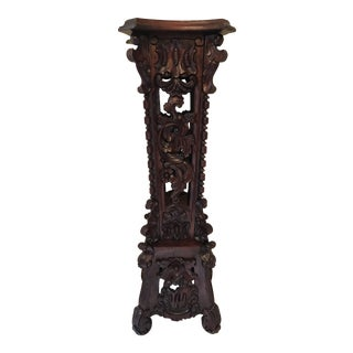 Tall Asian Carved Mahogany Pedestal Plant Stand For Sale