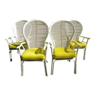 Vintage Mid Century White Rattan Chairs- Set of 4 For Sale
