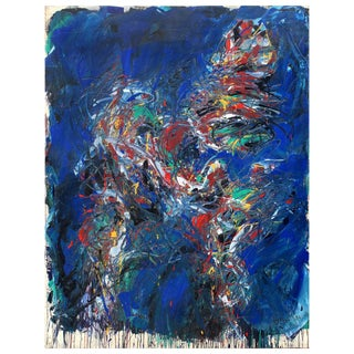 """Monumental Dehais Abstract Oil Painting on Canvas """"Figure"""", 1984 For Sale"""