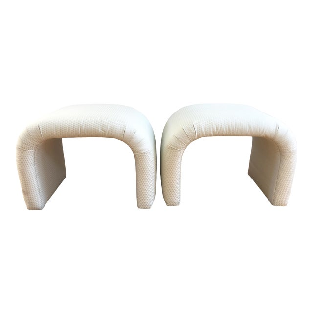 Vintage Milo Baughman, Karl Springer Mid-Century Modern Waterfall Benches, a Pair For Sale