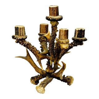 Vintage Lodge Style Design Five Armed Antler Candleholder For Sale