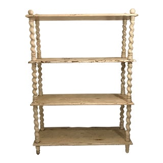 Rustic Distressed Barley Twist Four Tier Etagere For Sale