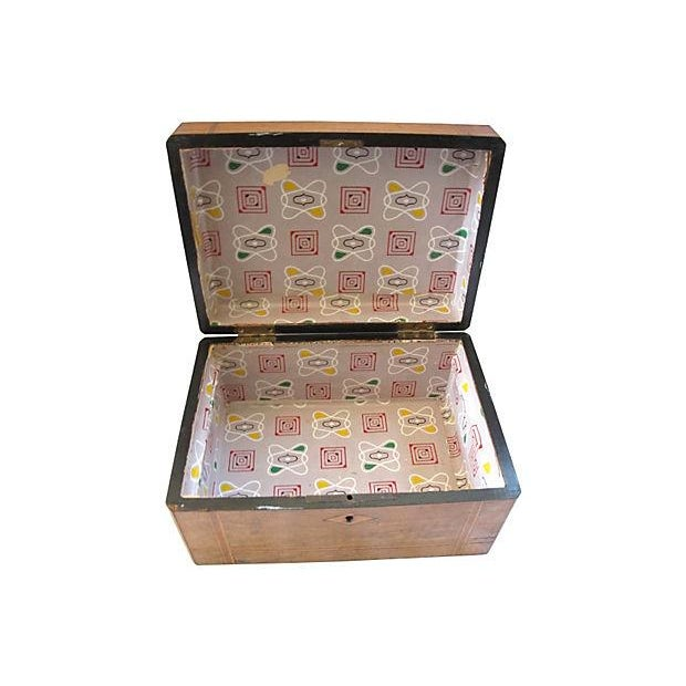 Antique Inlaid Wood Document Box - Image 3 of 4