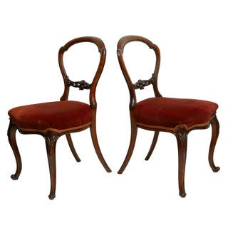 Pair of Walnut Balloon Back Side Chairs, English Victorian 19th Century Preview