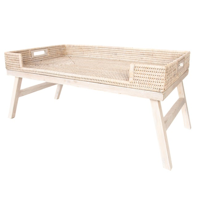 Boho Chic Artifacts Rattan Breakfast Tray/Table - White Wash For Sale - Image 3 of 6