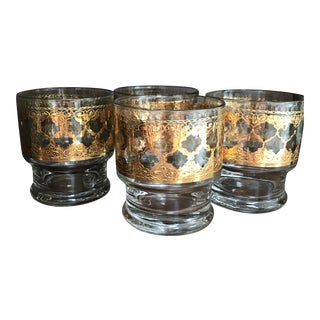 "Mid-Century Modern 22k Gold Culver ""Valencia"" Stackable Footed Cocktail Glasses - Set of 4 For Sale"