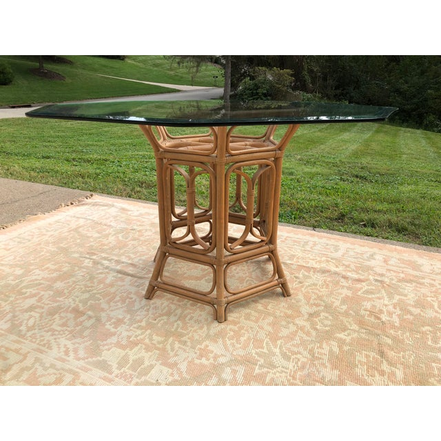 Bamboo Boho McGuire Style Bent Rattan Table + Octagon Shaped, Beveled Glass Top For Sale - Image 7 of 11