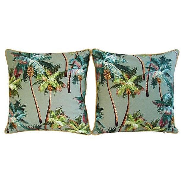 Custom Oasis Palm Tree Barkcloth Pillows- a Pair - Image 5 of 7