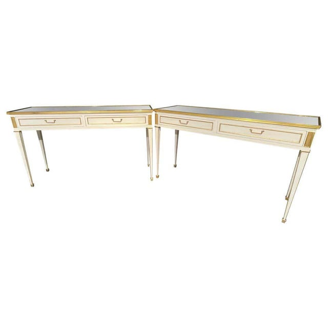 Jansen Hollywood Regency Style Console / Sofa Tables, Mirrored & Painted - a Pair For Sale - Image 13 of 13
