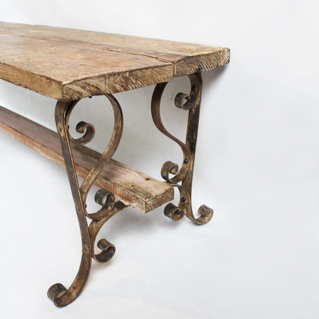 Reclaimed teak iron bench chairish for Buy reclaimed wood los angeles