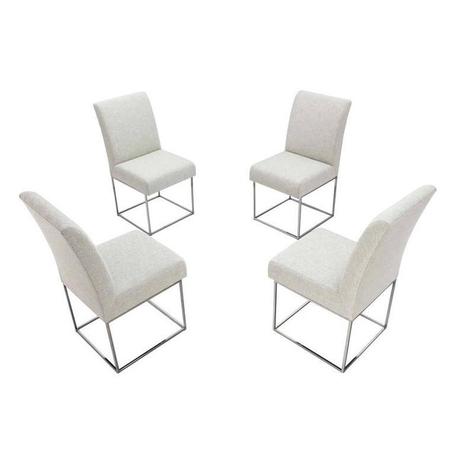 Set of Four Milo Baughman Mid Century Modern Chrome Dining Chairs New Upholstery For Sale - Image 10 of 10