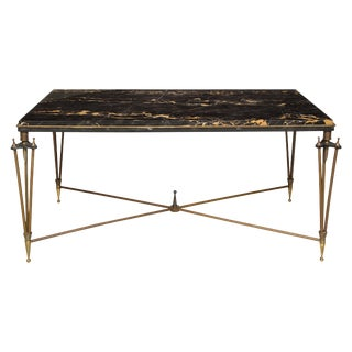 Rare Bronze and Iron Coffee Table Inspired by Gilbert Poillerat For Sale