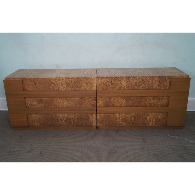 Mid-Century Modern Mid-Century Burl Wood Dressers - A Pair For Sale - Image 3 of 10