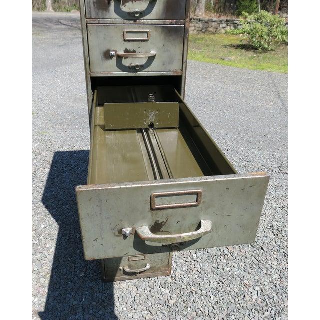 Vintage Industrial Metal File Cabinet For Sale - Image 4 of 11