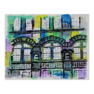 Abstract Brownstone Landscape New York City by Cleo For Sale