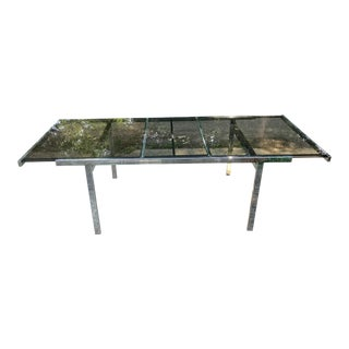 Milo Baughman Chrome and Glass Dining Table With Extension