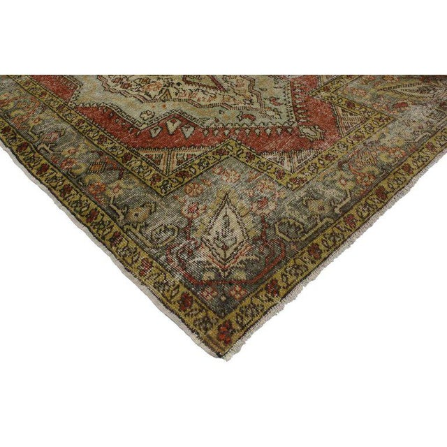 51738 Distressed Vintage Turkish Oushak Rug with Modern Rustic Style 04'02 x 06'00. With its perfectly worn-in charm and...