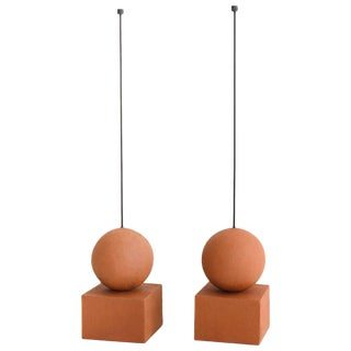 Pair of Terracotta Candle Holders, Hand-Sculpted, Rooms For Sale