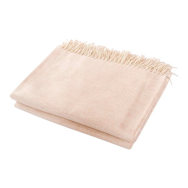 Contemporary Merino Wool Collection Oatmeal Throw For Sale