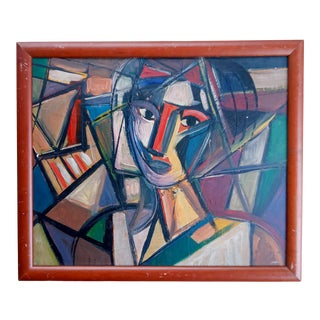 Late 20th Century Cubist Female Portrait Oil Painting, Framed For Sale