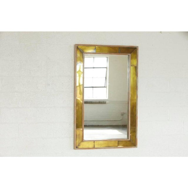 Exquisite Modern Wall Mirror with Lacquered Brass Inlays and White ...