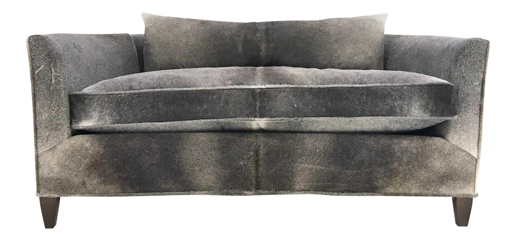 Modern Loveseat Sofa Restored And Reupholstered In Brazilian Cowhide For  Sale