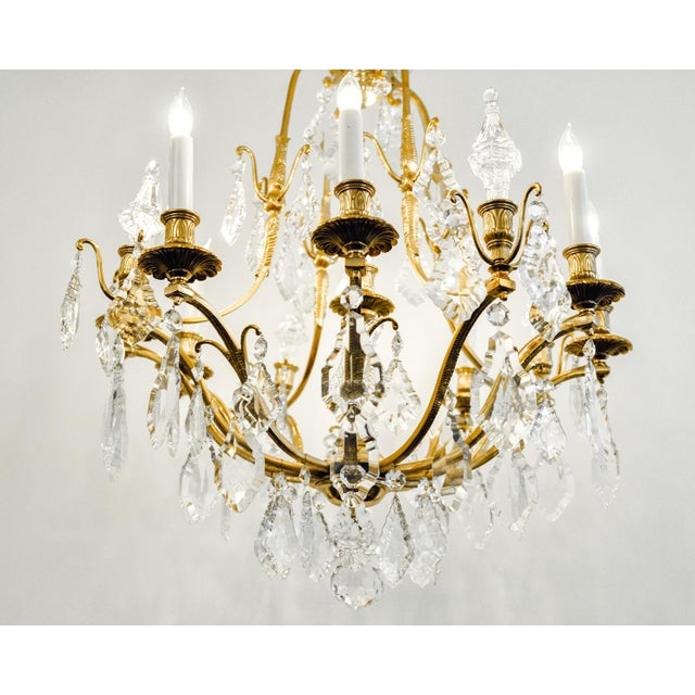 1920s Antique French Cut Crystal Eight Arm Chandelier For Sale In New York - Image 6 of 11