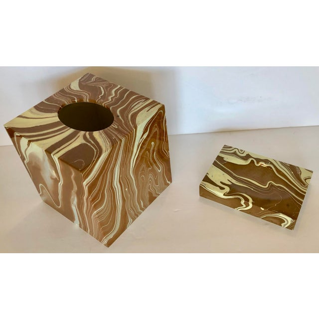 Bath set of tissue cover box and soap dish in hard plastic made in Vietnam for Oggetti. Great faux marble finish. The soap...