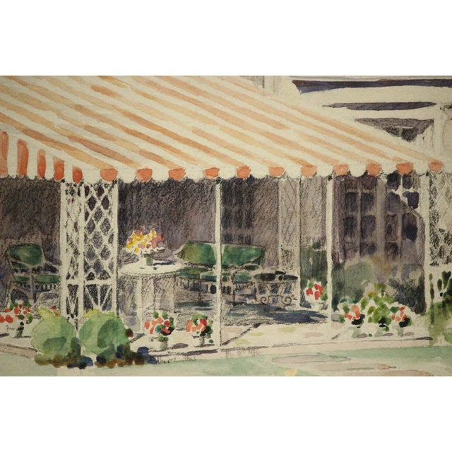 Mid-Century Modern Summer Patio Watercolor Painting For Sale - Image 3 of 5
