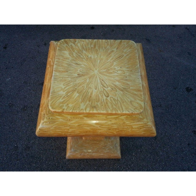 This is a super high end 70s exotic tessellated deer antler pedestal. The piece has brass trim in the manner of Karl...