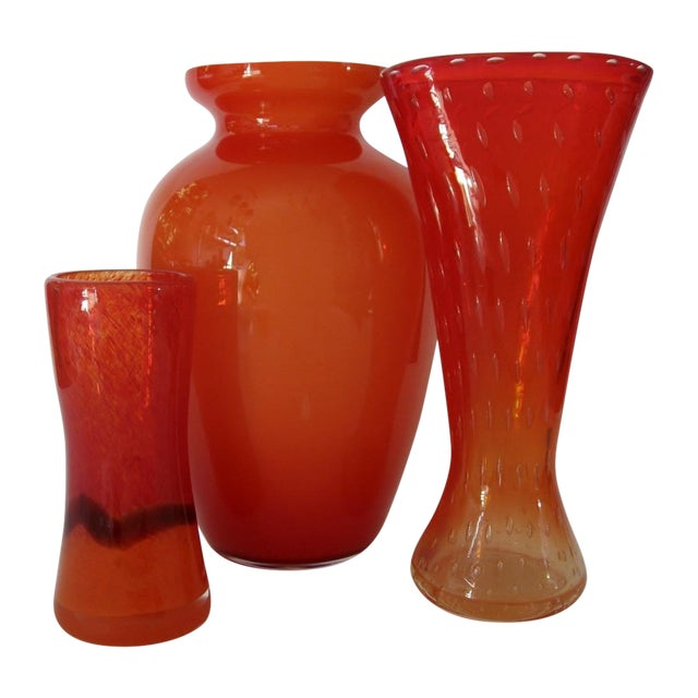 Vintage Orange Glass Vases Set Of 3 Chairish