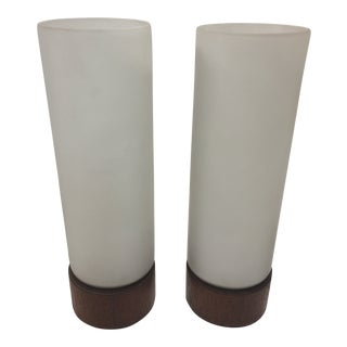 Danish Modern Lamps Frosted Glass a Pair