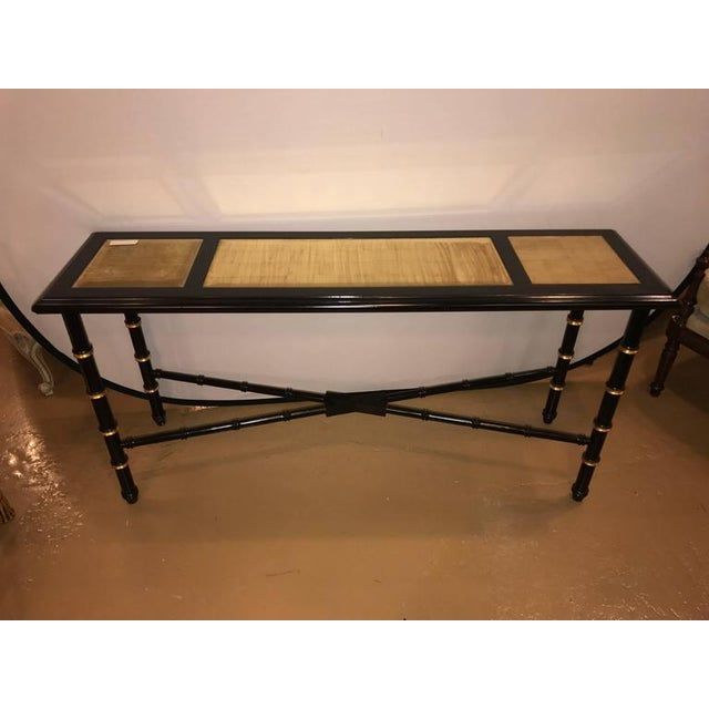Hollywood Regency Ebonized Faux Bamboo and Gilt Gold Console or Serving Table Manner of Jansen For Sale - Image 3 of 10