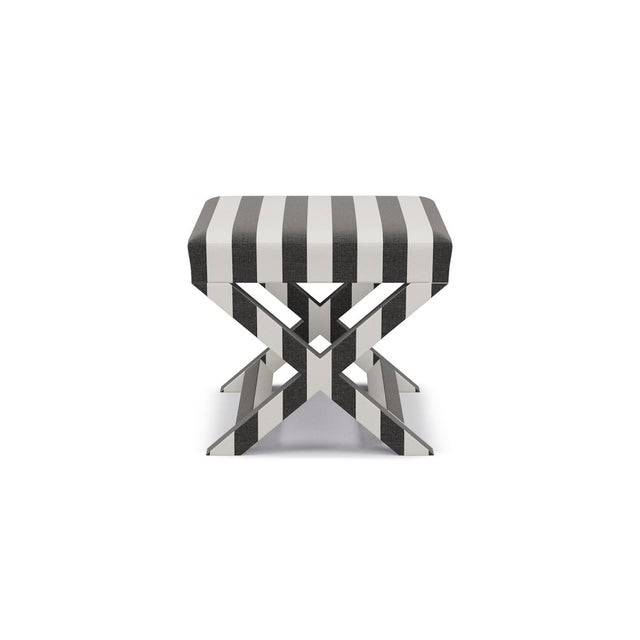 Not Yet Made - Made To Order X Bench in Ink Cabana Stripe For Sale - Image 5 of 5