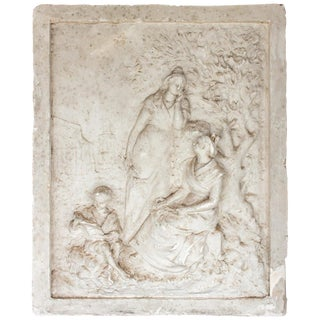 Signed Antique French Plaster Relief With Garden Scene and Three Figures For Sale